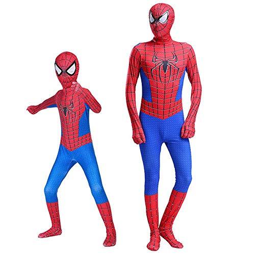 ZHANGXX Kinder Spiderman Kostüme 3D Print Spandex Lycra Bodysuit Anzug Halloween Cosplay Kostüm,Karneval,Party ,Weihnachten,Thema Partei Super Hero,C-(110——120cm)