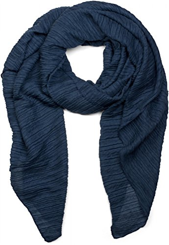 styleBREAKER gekreppter unifarbener Schal, Crash and Crinkle, Tuch, Damen 01016107, Farbe:Dunkelblau