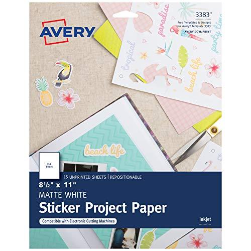 Avery Printable Sticker Paper, 8.5 x 11, Inkjet Printer, White, 15 Repositionable Sticker Sheets (3383)