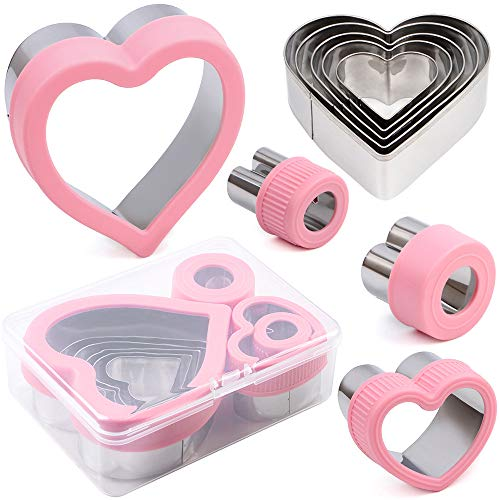 """BakingWorld Heart Cookie Cutter Set,9 Piece Heart Shapes Stainless Steel Cookie Cutters Mold for Cakes Biscuits and Sandwiches,0.98""""/1.45""""/1.57""""/1.96""""/2.04""""/2.32""""/2.75""""/3.18""""/3.74"""" Assorted Sizes"""