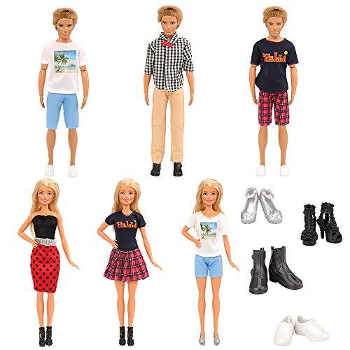 Miunana Lot 10 Kleidung = 3 Freizeitbekleidung Set + 2 Paar Schuhe für Jungen Puppen + 3 Kleider Set + 2 High Heels für 11,5 Zoll Mädchen Puppen