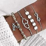 Branets Boho Lot de 4 bracelets cœur avec paillettes et perlé chaîne argent pour femme et fille