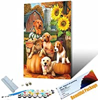 数字油絵_動物犬_大人の子供手塗DIYりデジタル油絵 でペイント_ホームデコレーション_40x50cm_ フレームレス