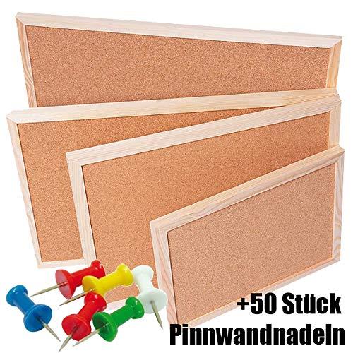 bacheca in sughero naturale e legno di pino, cornice in legno – Lavagna in sughero – Lavagna memo – puntine – altre misure a scelta 60X70 cm + 50 Stück Pinnwandnadeln