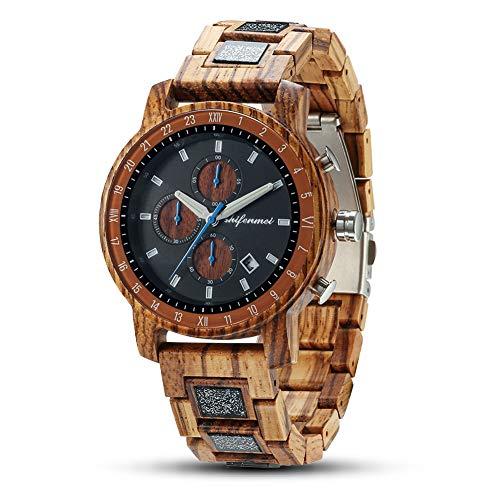 shifenmei 5565 - Reloj multifunción de madera para hombre con correa ajustable, tres subesferas de fecha, analógico, movimiento japonés de cuarzo y madera con caja exquisita (cebra)