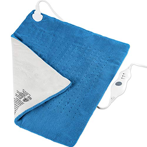 Extra Large Heating Pad King Size Electric Heating Pad 20x24 Inch XXL for Body with Auto Shut Off Best Heating Pad Large Pain Relief for Back/Neck/Shoulders/Stomach(Blue)