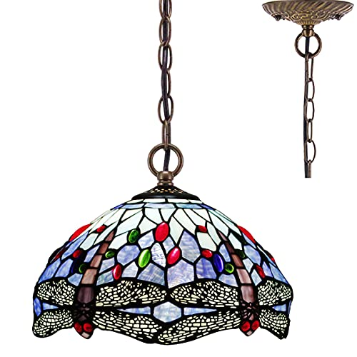 Tiffany Pendant Lighting for Kitchen Island Fixture 12' Blue Stained Glass Dragonfly Shade Industrial Boho Pendant Lamp Rustic Farmhouse Chandelier Swag Bar Hallway Living Dining Room Loft WERFACTORY