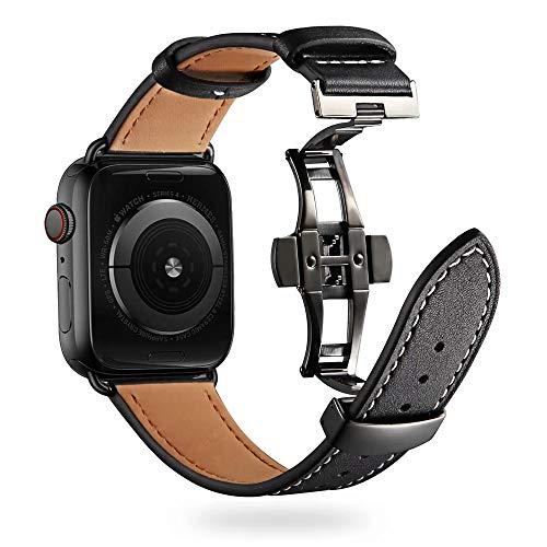 Firsteit Compatível com pulseira de relógio Apple 38 mm, 40 mm, 42 mm, 44 mm, pulseira de substituição de couro para iWatch Series 6/5/4/3/2/1/SE (fecho preto -A+preto, 42 mm/44 mm)