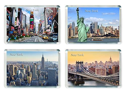MGT US001 Set of 4 New York Jumbo Calamita da frigo USA America United States Travel Fridge Magnets