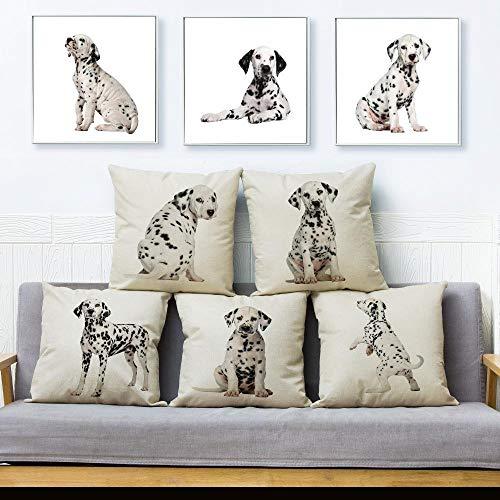 JWEK Fodera per Cuscino Set di 5 Fodere per Cuscino Dalmata Europee Divano Decorazione della casa Stampa Simpatico Animale Domestico Cane Abbraccio Federa Animale Federa 45X45Cm