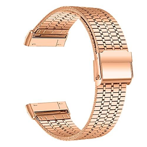 Leeiss Pulsera para Fitbit Sense de acero inoxidable Versa 3 Band Reemplazo de metal Correa de reloj pulsera (oro rosa)