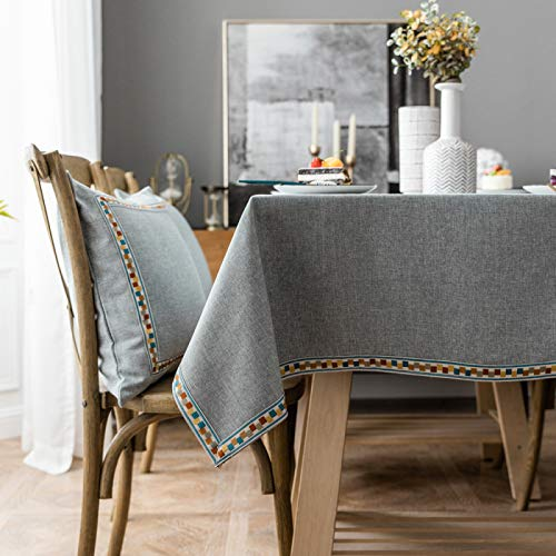 MRBJC Mantel rectangular, impermeable, lavable, poliéster, color sólido, tela decorativa, para mesa de comedor, buffet, fiestas y camping, 130 x 240 cm