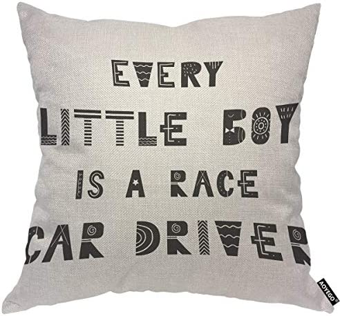 AOYEGO Every Little Boy is A Race Car Driver Throw Pillow Cover Quote Phrase Monochrome Saying product image