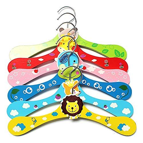 MOC Juego de 6 perchas de madera de alta calidad para niños, diseño de dibujos animados, para ahorrar espacio