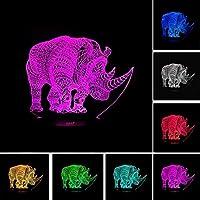 3DLEDイリュージョンRhinocerosランプムードナイトライトUSB7色変化するカラフルなグラデーション見事な視覚照明の装飾キッズギフト
