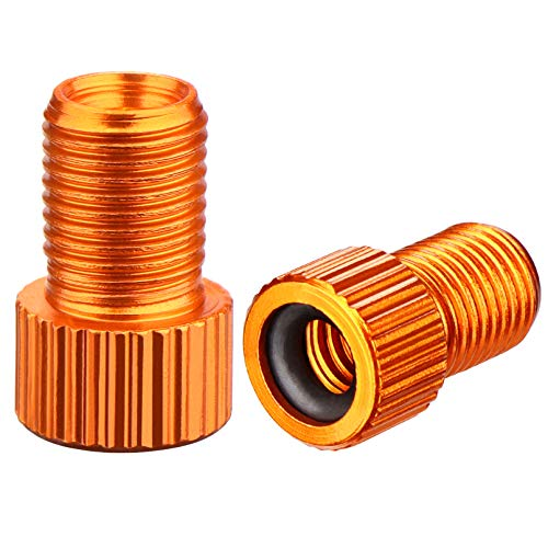 Presta Valve Adaptor Orange Aluminum Alloy Anodized Colorful Bike Inflate Adapter-Convert Presta to Schrader, French/UK to US, MTB Inflatable Connector (5 Pack)
