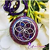Seed of Life Orgonite Necklace Healing Crystals with Sacred Geometry for EMF Protection, Amethyst, Moonstone, Rose Quartz, wellness, balance, holistic therapy, yoga, meditation, astrology, energy