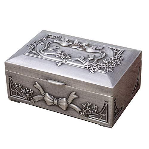 joyeros,Caja de almacenamiento de joyería de arco retro de estilo europeo, caja de almacenamiento cuadrada de alta gama de metal pequeña