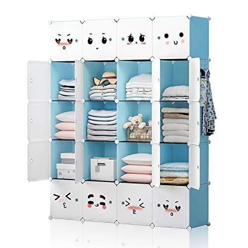 YOZO Modular Closet Portable Wardrobe Children Dresser Storage Organizer Garment Rack Cube Shelving Multifunction DIY Furniture, Blue, 16 Cubes