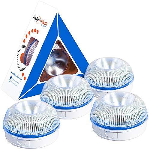 HELP FLASH SMART PK2753 4X luz Emergencia AUTÓNOMA, señal v16 preseñalización Peligro+Linterna, homologada, DGT, Base imantada, activación AUTOMÁTICA, Hecho en España, Amarillo auto