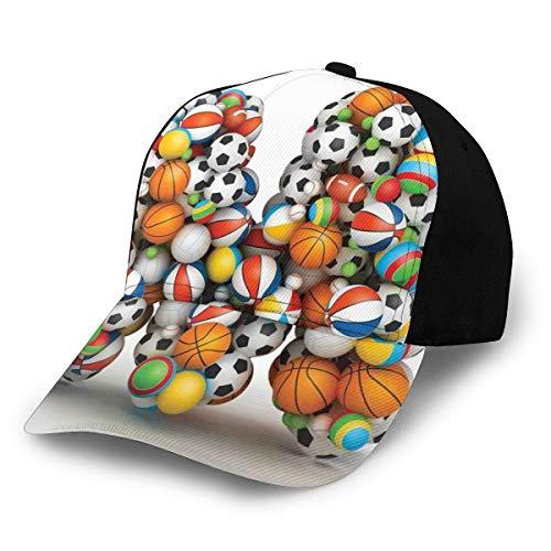 Hip Hop Sun Hat Baseball Cap,Alphabet ABC Creative Typography Design with Sports...