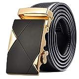 ZSDGY Cinturón de Hebilla automático de Cuero Personalizado para Hombres, cinturón de Temperamento Simple A-110cm