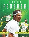 """Roger Federer 2022 Calendar: SPORT Calendar 2022-2023 – 18 months – BIG SIZE 17""""x11"""". Planner for all fans kids boys - Roger Federer Calendar 2022 - Tennis Calendar 2022"""