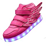 KARKEIN LED Light Up Hi-Top Wings Shoes USB Rechargeable Flashing Sneakers for Toddlers Kids Boys Girls Pink 5 Big Kid