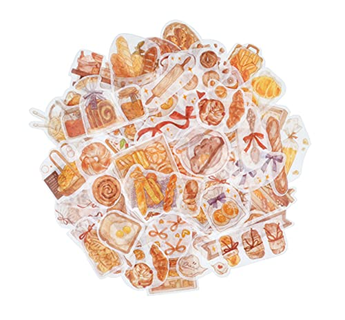 Cliocoo 160pcs Bakery Washi Stickers- 4 Packs Decorative Paper Decals, Vintage Bread Stickers, for Scrapbook, Planner, Journal, Envelope, Art Craft T-20 (1-Bakery Series)