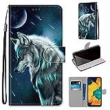 Miagon Flip PU Leder Schutzhülle für Samsung Galaxy A40,Bunt Muster Hülle Brieftasche Case Cover Ständer mit Kartenfächer Trageschlaufe,Himmel Wolf -