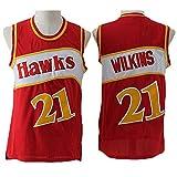 TPPHD Ropa de Baloncesto para Hombres, Atlanta Hawks 21# Dominique Wilkins Swingman NBA Jersey, Uniformes de Baloncesto para Deportes al Aire Libre Camiseta sin Mangas,1,M