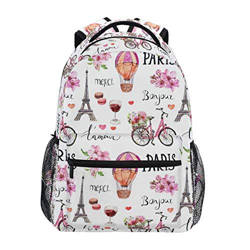 Mochila escolar con diseño de flores rosas de acuarela con diseño de la torre Eiffel y globo escolar, informal, ligera, para viajes, camping, portátil, para adolescentes y mujeres con bolsillos