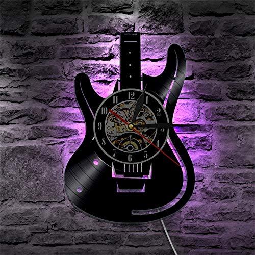 Schlafen Nachtlicht Vinyl Record LED Wanduhr modernes Design Musik Thema Gitarre Uhr Wanduhr Dekoration Musikinstrument Geschenk Musik Liebe schwarz Retro Tischlampe