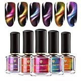 BORN PRETTY 6 Bottles Magnetic Nail Polish Cat Eye Nail Polish Set 3D Magnetic Color Changing 6ml Manicure Black Base Needed