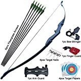 D&Q Archery Bow and Arrow for Teens Adults Beginner Takedown Bow 30 40Lbs Left and Right Hand Recurve Bow Set Outdoor Training Target Practice (Bow and Arrows 30Lbs)