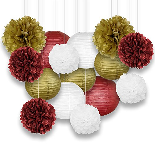 Just Artifacts Decorative Paper Party Pack (15pcs) Paper Lanterns and Pom Pom Balls - Maroons/Gold/White