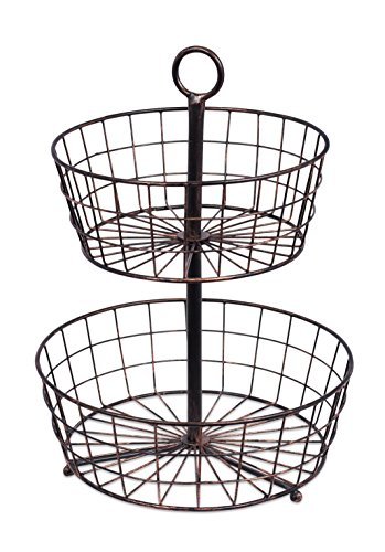 BirdRock Home 2 Tier Wire Fruit Basket - Round Metal Standing Baskets - Fruit Vegetable Garlic Caddy - Freestanding Rustic Decorative Basket