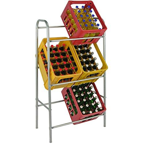 Flaschenkastenständer von JEMIDI Getränkeregal Flaschenkastenregal Kästenregal Getränkekisten Kästenträger für 6 Kisten Silber
