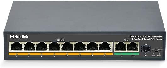 MokerLink 8 Port PoE Switch with 2 Gigabit Uplink Ethernet, 1 SFP Port, 120W 802.3af/at, Fanless Unmanaged Plug & Play PoE+ Switch
