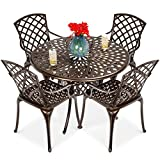 Best Choice Products 5-Piece All-Weather Outdoor Cast Aluminum Dining Set for Patio, Balcony, Lawn, Garden, Backyard w/ 4 Chairs, Umbrella Hole, Lattice Weave Design - Brown
