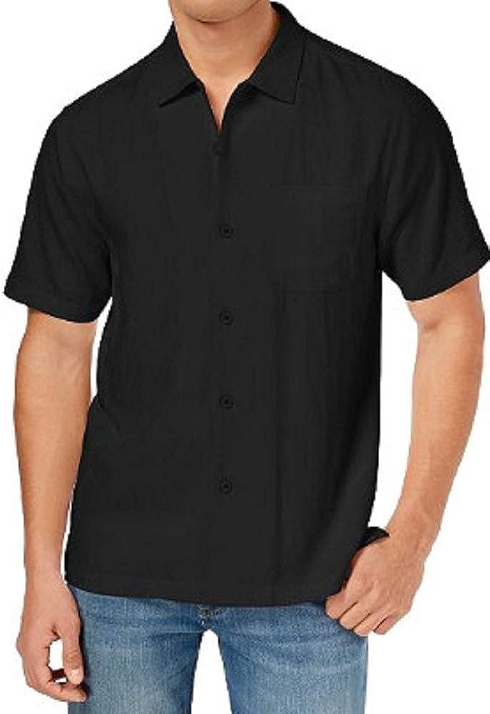 Tommy Bahama Mens Weekend Tropics Silk Short Sleeves Button-Down Shirt