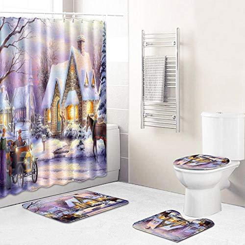 Juego de Cortina de Ducha Carro de Cabina Blanco marrón púrpura Cortina de Ducha antimoho, Alfombra de baño de poliéster, Traje Antibacteriano, Juego de 4 Piezas,con 12 Ganchos