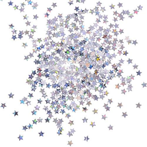 eBoot 100 Gram Stelle Coriandoli Confetti Glitter Stelle Paillette per Artigianato Fai da Te Nail Art e Decorazione della Festa, Argento Olografico