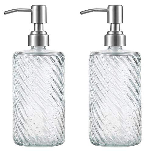 Plomkeest - Dispenser di sapone in vetro trasparente, 500 ml, con pompa in acciaio inox antiruggine, dispenser per sapone liquido, per bagno, cucina