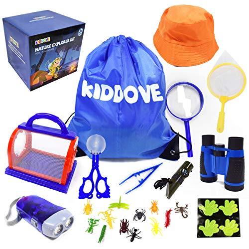 Outdoor Explorer Kit & Bug Catcher Kit with Binoculars, 7 in 1 Whistle, Sun Hat, Magnifying Glass, Critter Case and Butterfly Net…Outdoor Adventure Camping Gift Kit for Boys & Girls Age 3-12 Year Old
