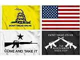 KENPMA 4 Pieces American Flag - 2nd Amendment Crossed...
