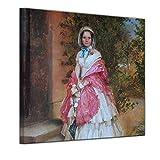 Wandbild Adolph von Menzel Frau Clara Schmidt von Knobelsdorff - 60x60cm Quadrat - Alte Meister Berühmte Gemälde Leinwandbild Kunstdruck Bild auf Leinwand