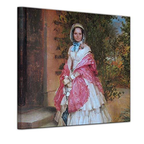 Wandbild Adolph von Menzel Frau Clara Schmidt von Knobelsdorff - 60x60cm Quadrat - Alte Meister...