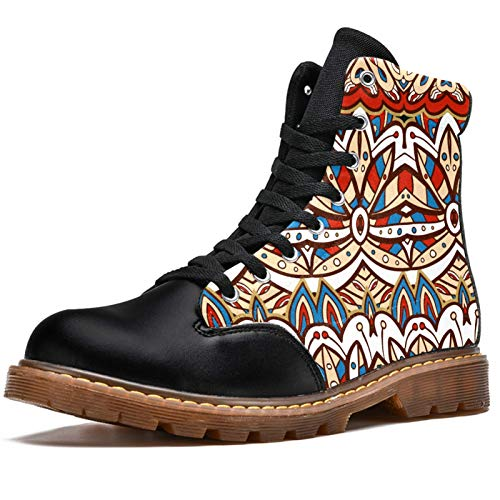 12 Casual Shoes Girl Classic Winter Boots Women's High Top Lace Up American India Ethnic Aztec Pattern Fashion Anti-Slip