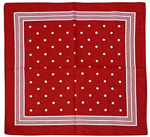 Harrys-Collection Unisex Bandana Bindetuch 100% Baumwolle (1 er 6 er oder 12 er Pack), Farbe:Punkte rot